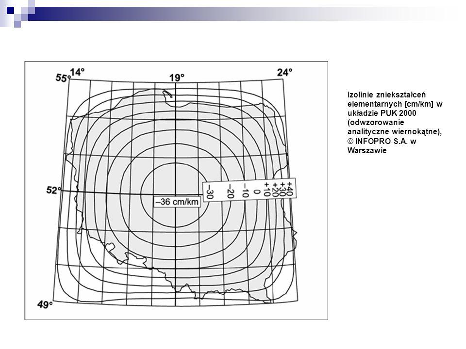 Izolinie zniekształceń elementarnych [cm/km] w układzie PUK 2000 (odwzorowanie analityczne wiernokątne), © INFOPRO S.A. w Warszawie