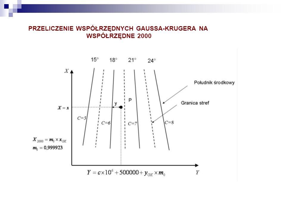 PRZELICZENIE WSPÓŁRZĘDNYCH GAUSSA-KRUGERA NA WSPÓŁRZĘDNE 2000