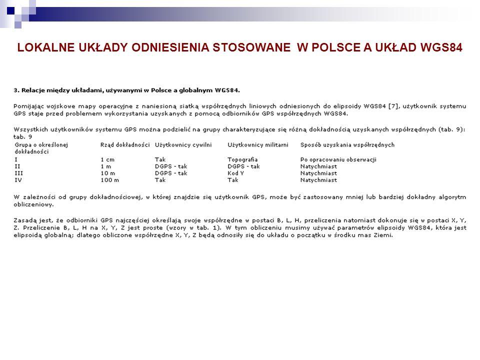 LOKALNE UKŁADY ODNIESIENIA STOSOWANE W POLSCE A UKŁAD WGS84