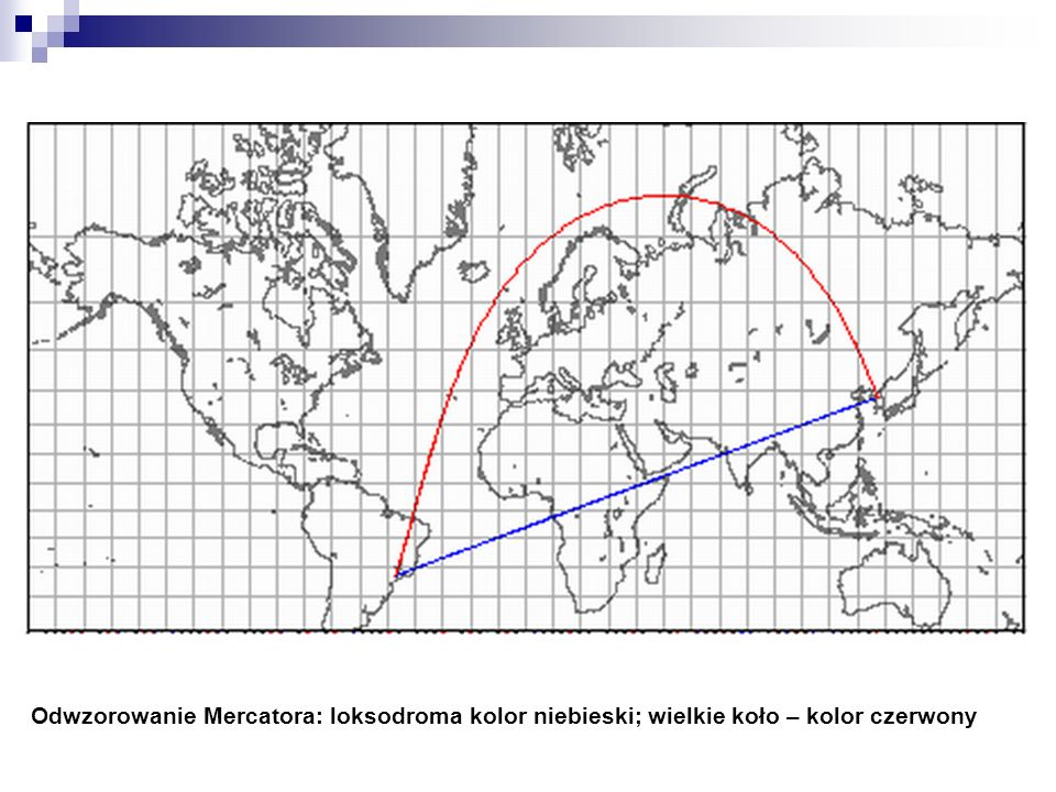 Loksodroma i wielkie koło w odwzorowaniu płaszczyznowym wiernoodległościowym biegunowym