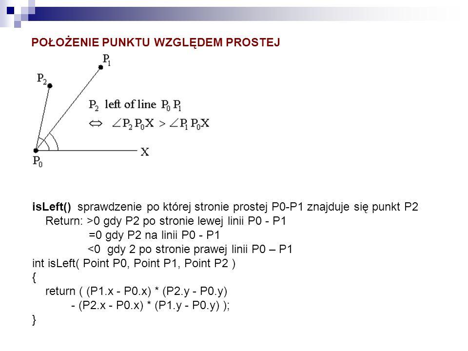 isLeft() sprawdzenie po której stronie prostej P0-P1 znajduje się punkt P2 Return: >0 gdy P2 po stronie lewej linii P0 - P1 =0 gdy P2 na linii P0 - P1