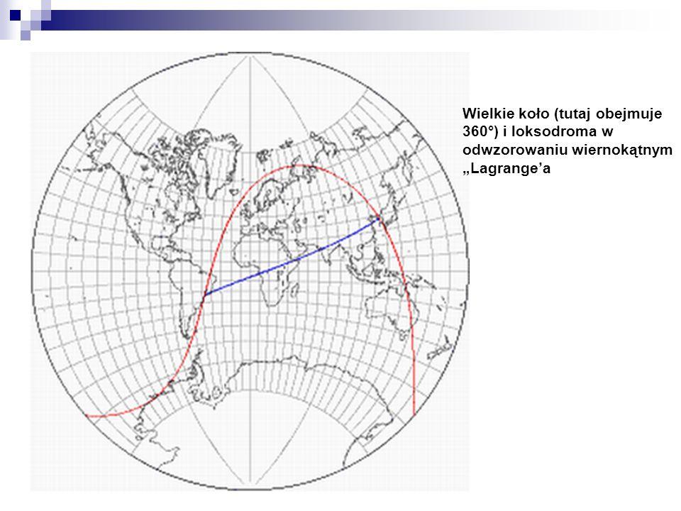 Wielkie koło (tutaj obejmuje 360°) i loksodroma w odwzorowaniu wiernokątnym Lagrangea