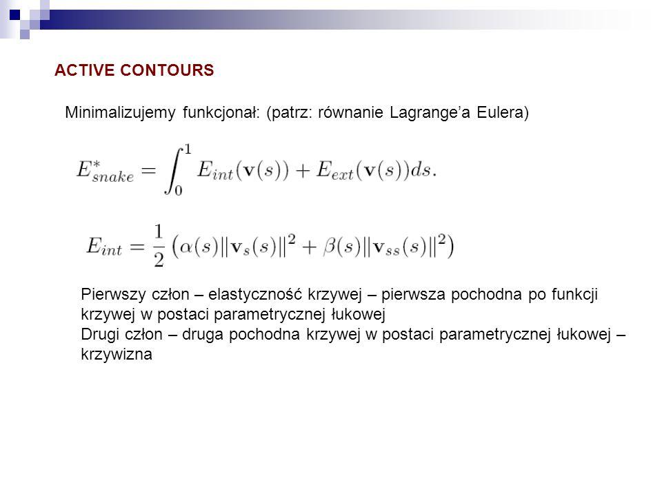 ACTIVE CONTOURS Minimalizujemy funkcjonał: (patrz: równanie Lagrangea Eulera) Pierwszy człon – elastyczność krzywej – pierwsza pochodna po funkcji krz