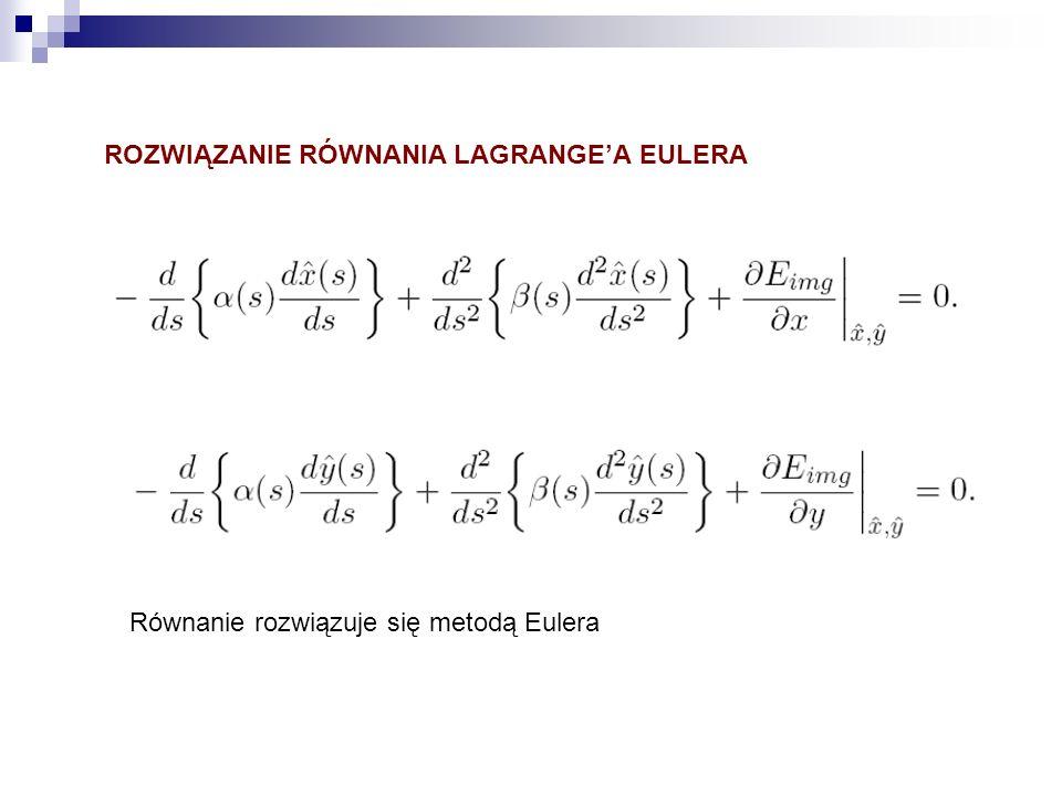ROZWIĄZANIE RÓWNANIA LAGRANGEA EULERA Równanie rozwiązuje się metodą Eulera