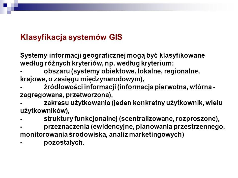 Klasyfikacja systemów GIS Systemy informacji geograficznej mogą być klasyfikowane według różnych kryteriów, np. według kryterium: -obszaru (systemy ob