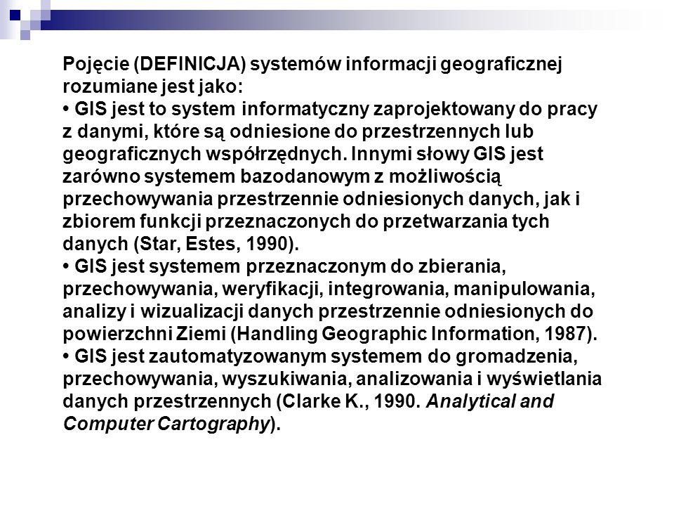 Pojęcie (DEFINICJA) systemów informacji geograficznej rozumiane jest jako: GIS jest to system informatyczny zaprojektowany do pracy z danymi, które są