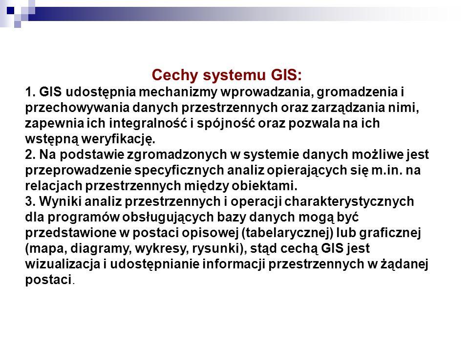 Cechy systemu GIS: 1. GIS udostępnia mechanizmy wprowadzania, gromadzenia i przechowywania danych przestrzennych oraz zarządzania nimi, zapewnia ich i