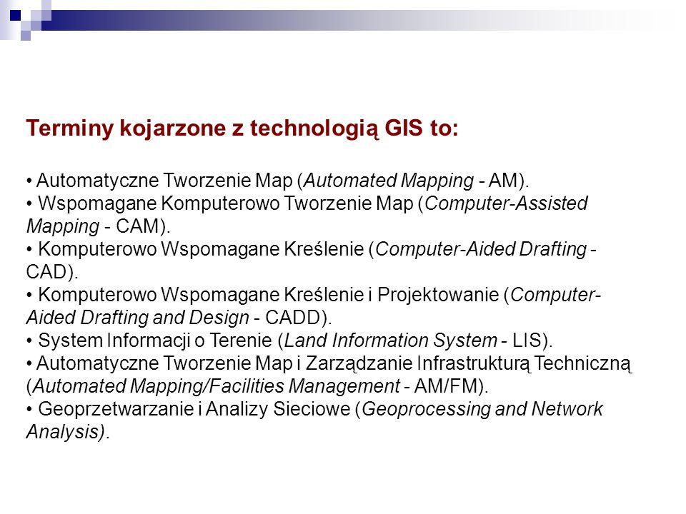 Terminy kojarzone z technologią GIS to: Automatyczne Tworzenie Map (Automated Mapping - AM). Wspomagane Komputerowo Tworzenie Map (Computer-Assisted M