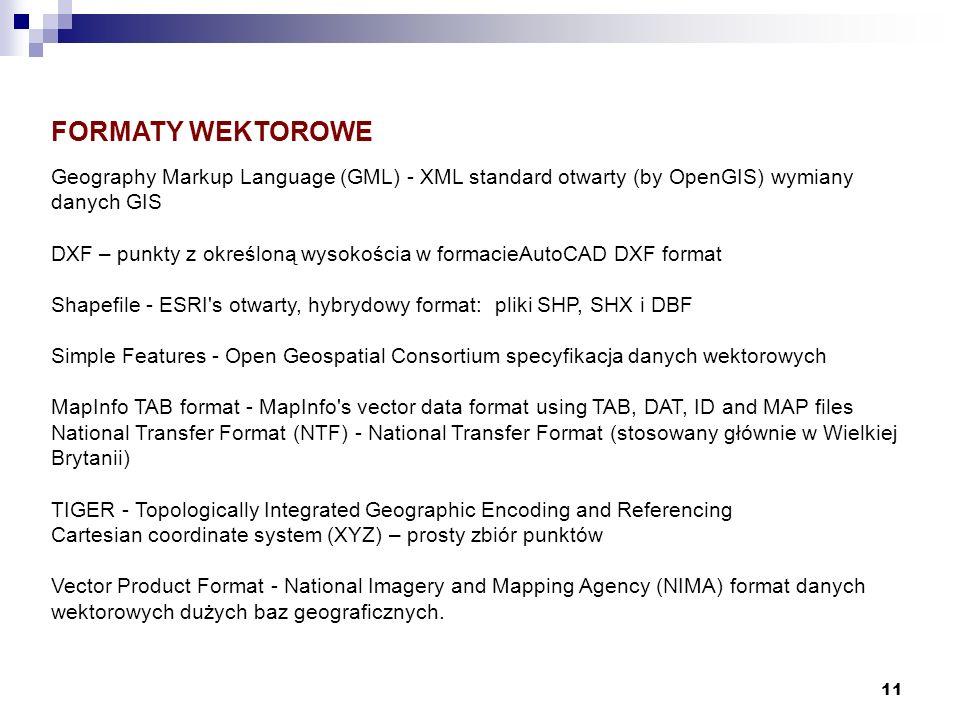 11 FORMATY WEKTOROWE Geography Markup Language (GML) - XML standard otwarty (by OpenGIS) wymiany danych GIS DXF – punkty z określoną wysokościa w form