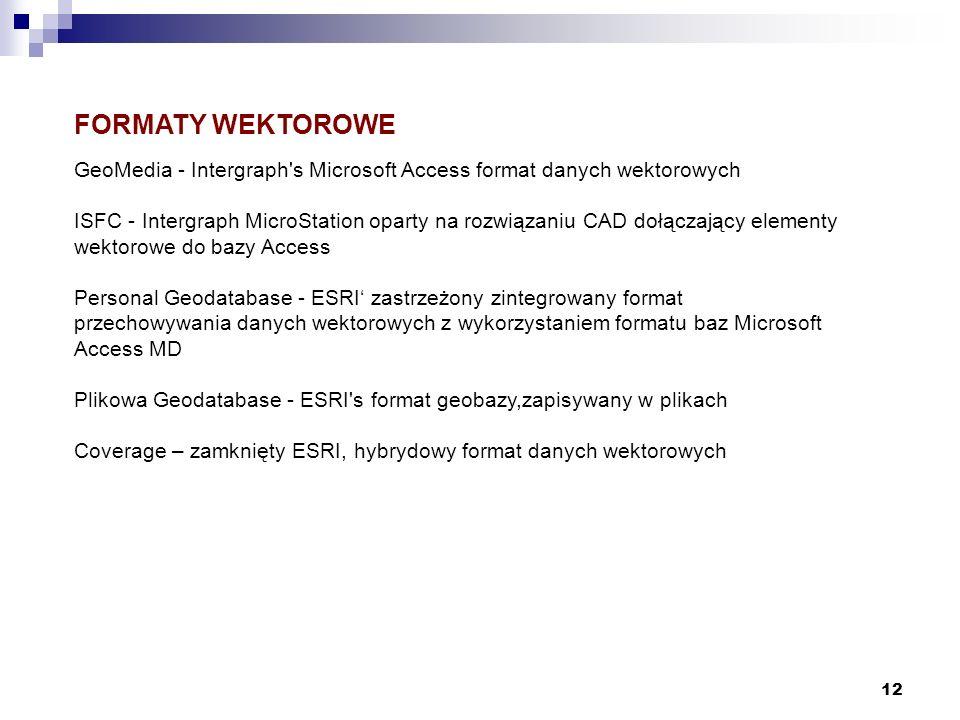 12 FORMATY WEKTOROWE GeoMedia - Intergraph's Microsoft Access format danych wektorowych ISFC - Intergraph MicroStation oparty na rozwiązaniu CAD dołąc
