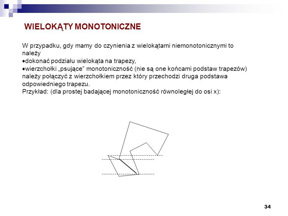34 W przypadku, gdy mamy do czynienia z wielokątami niemonotonicznymi to należy dokonać podziału wielokąta na trapezy, wierzchołki psujące monotoniczn