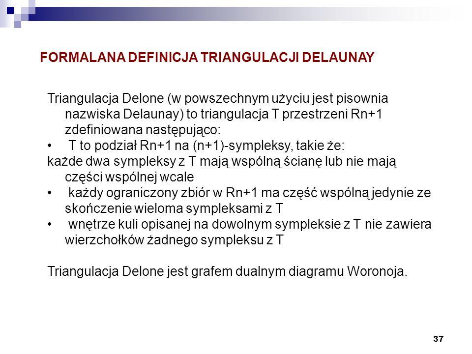 37 Triangulacja Delone (w powszechnym użyciu jest pisownia nazwiska Delaunay) to triangulacja T przestrzeni Rn+1 zdefiniowana następująco: T to podzia
