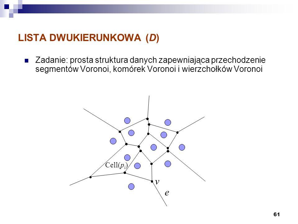 61 LISTA DWUKIERUNKOWA (D) Zadanie: prosta struktura danych zapewniająca przechodzenie segmentów Voronoi, komórek Voronoi i wierzchołków Voronoi e v C