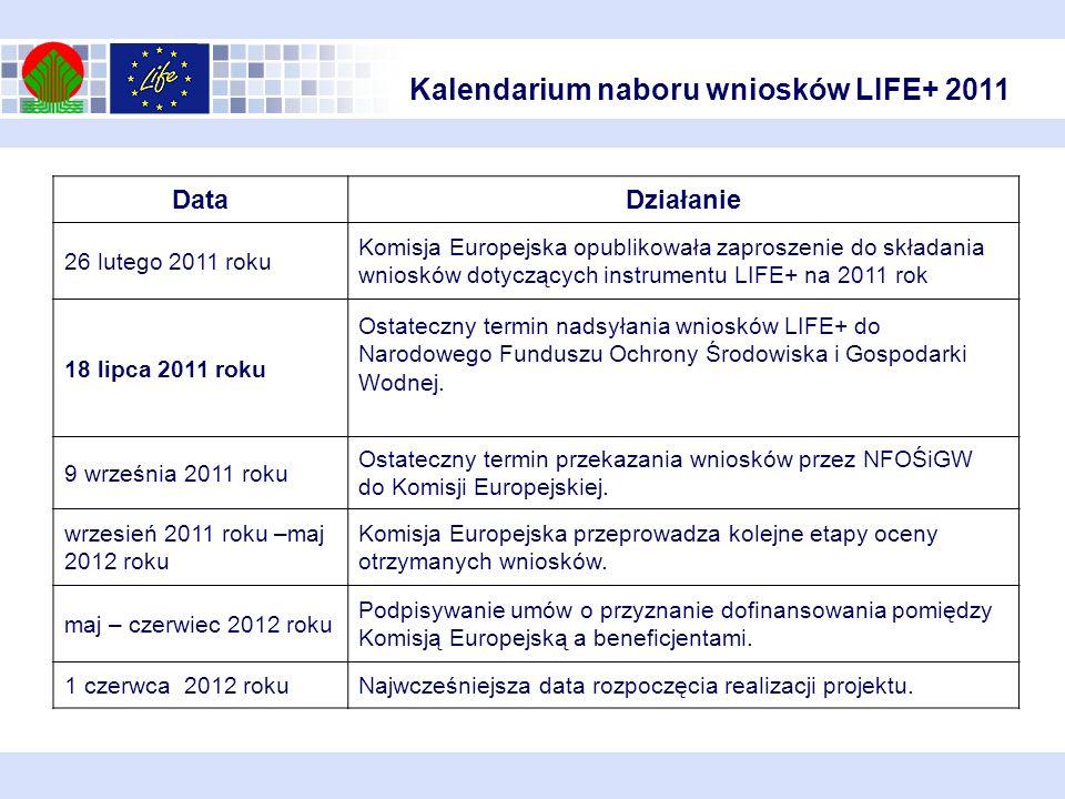 Kalendarium naboru wniosków LIFE+ 2011 DataDziałanie 26 lutego 2011 roku Komisja Europejska opublikowała zaproszenie do składania wniosków dotyczących