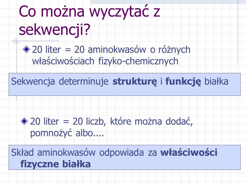 Co można wyczytać z sekwencji? 20 liter = 20 aminokwasów o różnych właściwościach fizyko-chemicznych Sekwencja determinuje strukturę i funkcję białka
