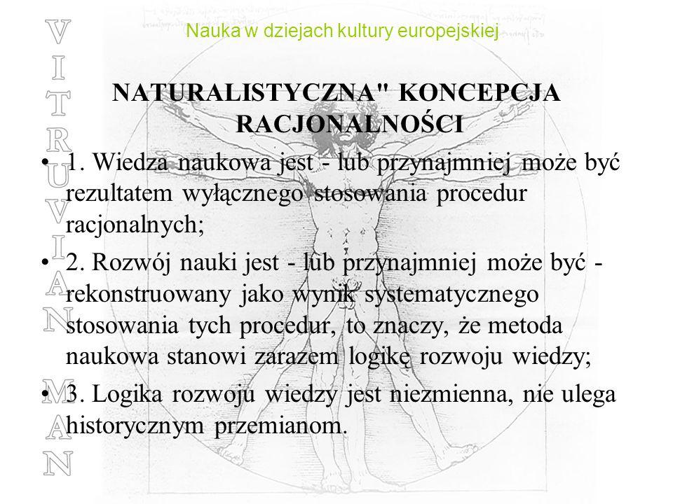 Nauka w dziejach kultury europejskiej NATURALISTYCZNA