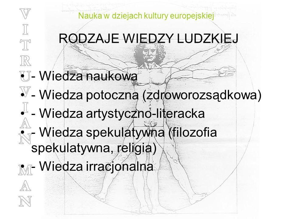 Nauka w dziejach kultury europejskiej RODZAJE WIEDZY LUDZKIEJ - Wiedza naukowa - Wiedza potoczna (zdroworozsądkowa) - Wiedza artystyczno-literacka - W