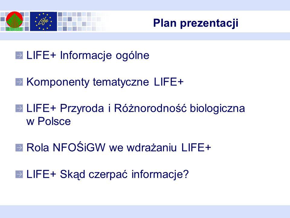 Plan prezentacji LIFE+ Informacje ogólne Komponenty tematyczne LIFE+ LIFE+ Przyroda i Różnorodność biologiczna w Polsce Rola NFOŚiGW we wdrażaniu LIFE