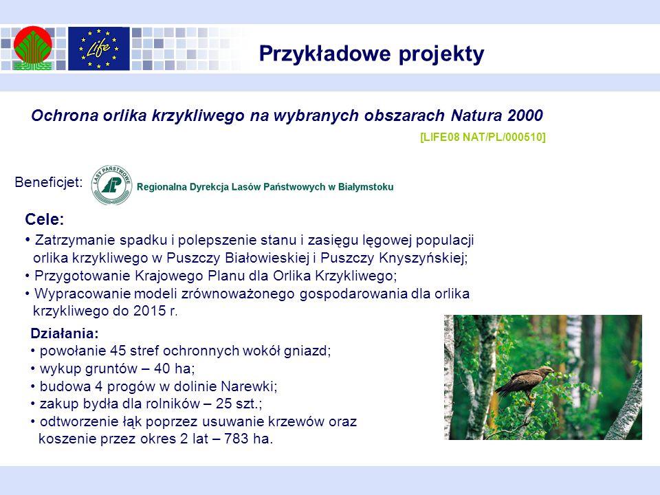 Beneficjet: Ochrona orlika krzykliwego na wybranych obszarach Natura 2000 [LIFE08 NAT/PL/000510] Cele: Zatrzymanie spadku i polepszenie stanu i zasięg