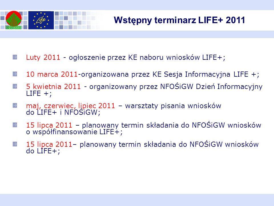 Luty 2011 - ogłoszenie przez KE naboru wniosków LIFE+; 10 marca 2011-organizowana przez KE Sesja Informacyjna LIFE +; 5 kwietnia 2011 - organizowany p