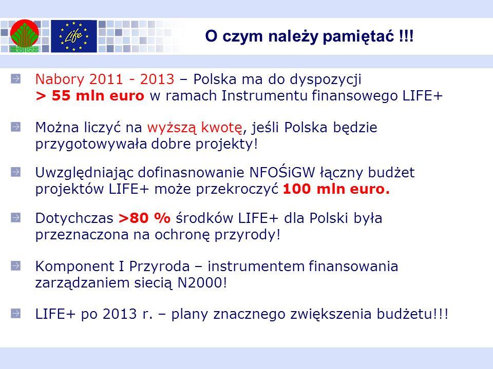Nabory 2011 - 2013 – Polska ma do dyspozycji > 55 mln euro w ramach Instrumentu finansowego LIFE+ Można liczyć na wyższą kwotę, jeśli Polska będzie pr
