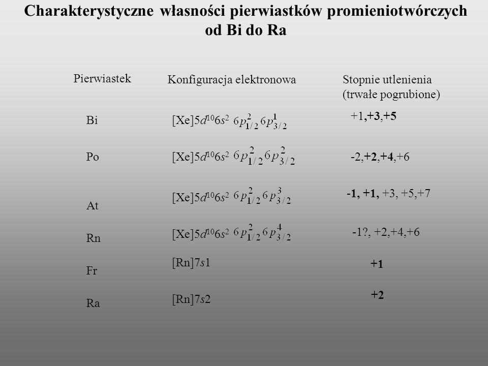 Charakterystyczne własności pierwiastków promieniotwórczych od Bi do Ra [Xe]5d 10 6s 2 Pierwiastek Konfiguracja elektronowaStopnie utlenienia (trwałe