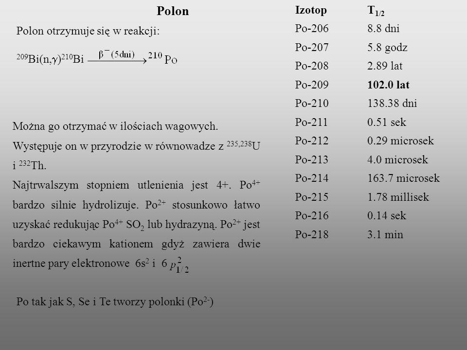 Polon otrzymuje się w reakcji: 209 Bi(n, ) 210 Bi Można go otrzymać w ilościach wagowych. Występuje on w przyrodzie w równowadze z 235,238 U i 232 Th.