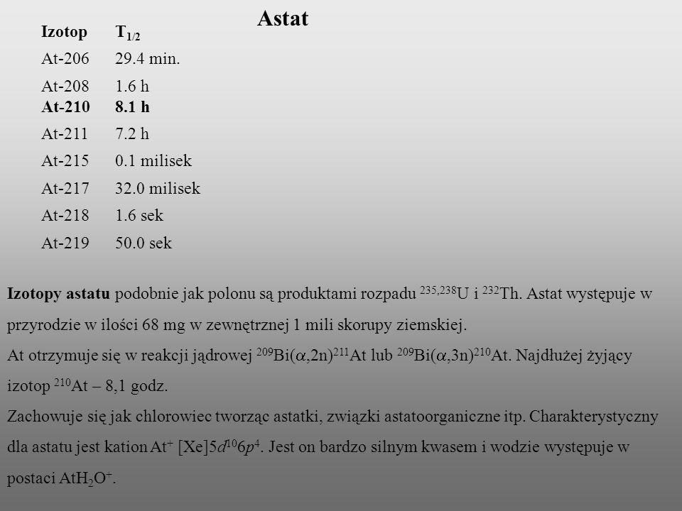 Izotopy astatu podobnie jak polonu są produktami rozpadu 235,238 U i 232 Th. Astat występuje w przyrodzie w ilości 68 mg w zewnętrznej 1 mili skorupy