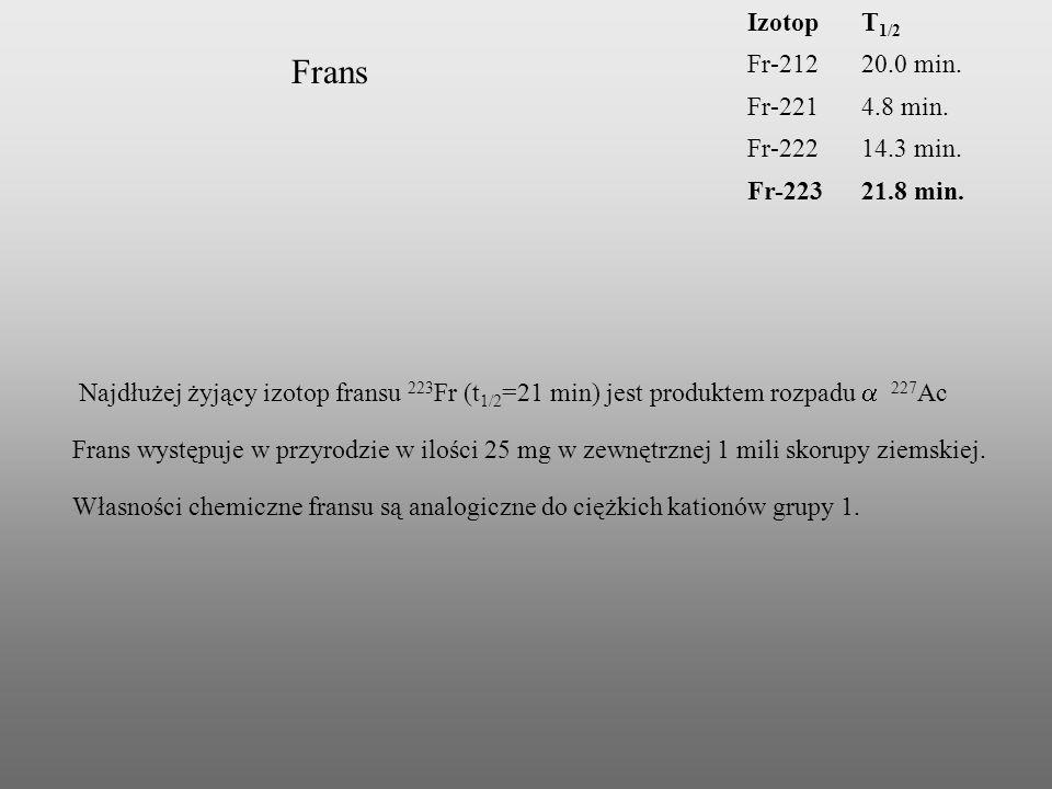 IzotopT 1/2 Fr-21220.0 min. Fr-2214.8 min. Fr-22214.3 min. Fr-22321.8 min. Frans Najdłużej żyjący izotop fransu 223 Fr (t 1/2 =21 min) jest produktem