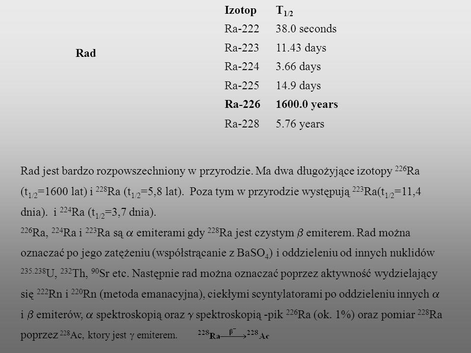 Ba 2+ Ra 2+ Promień orbitalny r max ważony (M 2+,pm)8792 Promień jonowy CN=8 (pm)142148 E jonizacji (kJ/mol)503509 E o dla M 2+ +2e M -2,91-2,92 G o hydratacji (kJ/mol) 853,7853 Własności chemiczne Ra2+ są prawie identyczne jak Ba2+ co powoduje ogromne trudności z rozdzieleniem obu kationów.