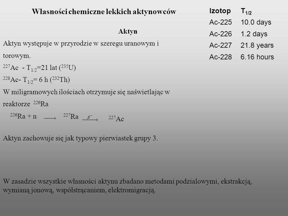 Własności chemiczne lekkich aktynowców Aktyn Aktyn występuje w przyrodzie w szeregu uranowym i torowym. 227 Ac - T 1/2 =21 lat ( 235 U) 228 Ac- T 1/2