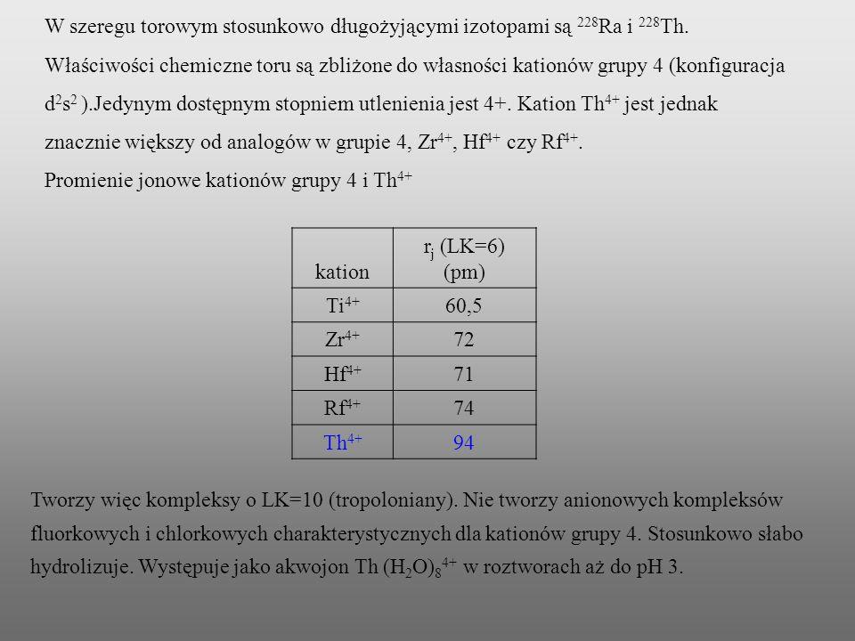 W szeregu torowym stosunkowo długożyjącymi izotopami są 228 Ra i 228 Th. Właściwości chemiczne toru są zbliżone do własności kationów grupy 4 (konfigu