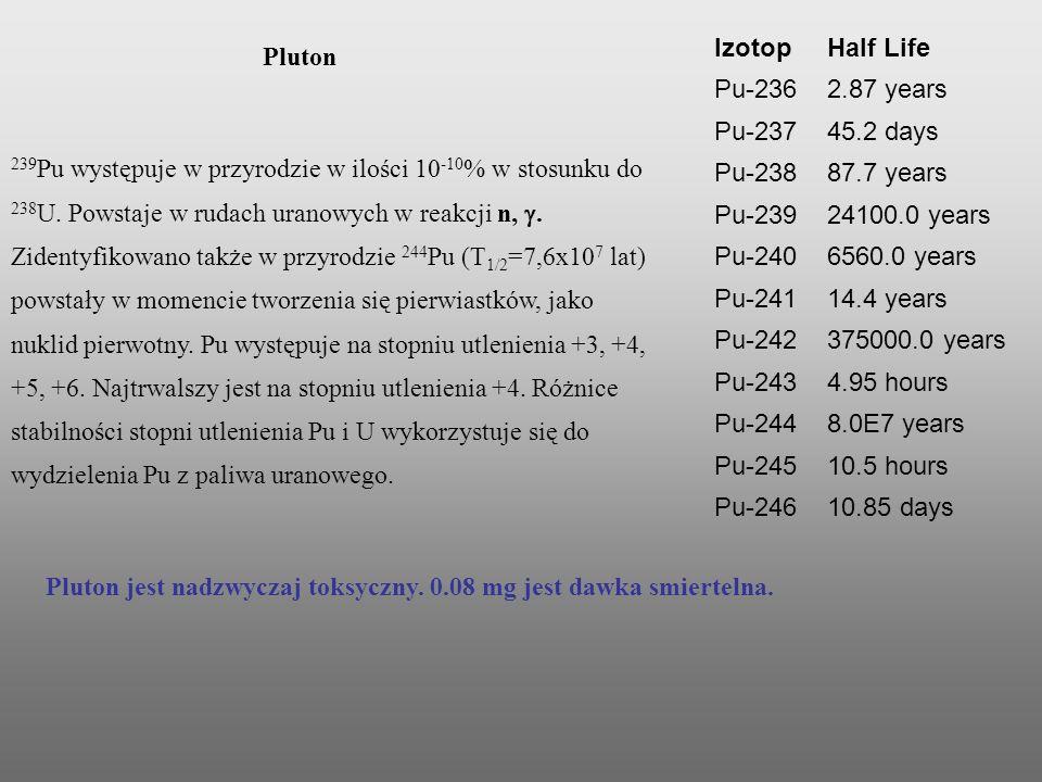 Pluton jest nadzwyczaj toksyczny. 0.08 mg jest dawka smiertelna. IzotopHalf Life Pu-2362.87 years Pu-23745.2 days Pu-23887.7 years Pu-23924100.0 years