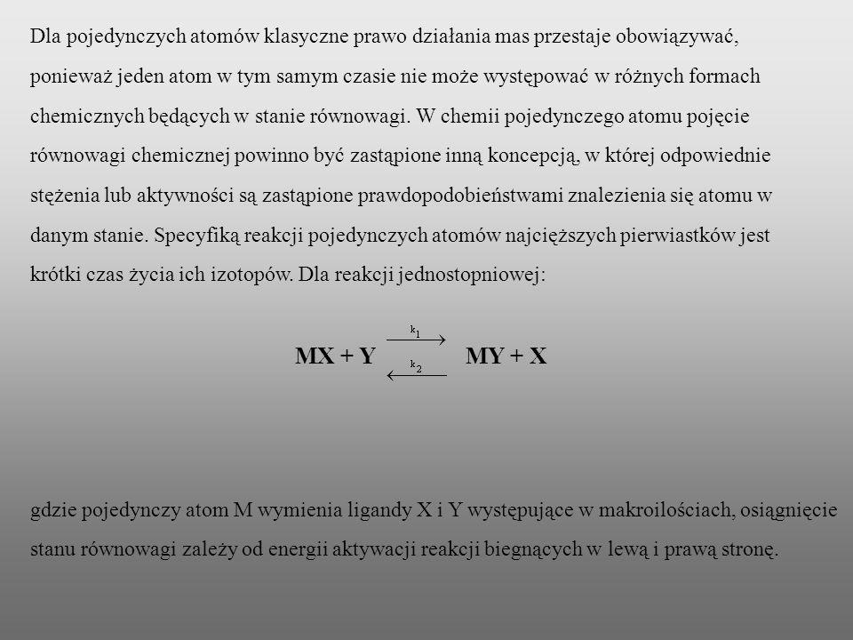 Dla pojedynczych atomów klasyczne prawo działania mas przestaje obowiązywać, ponieważ jeden atom w tym samym czasie nie może występować w różnych form