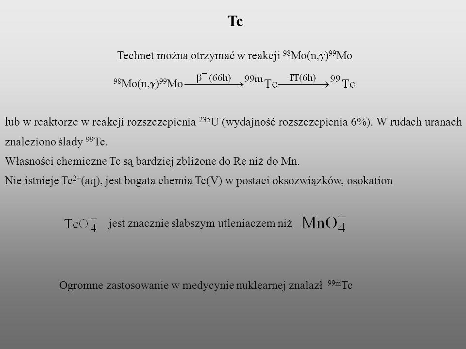 Tc Technet można otrzymać w reakcji 98 Mo(n, ) 99 Mo lub w reaktorze w reakcji rozszczepienia 235 U (wydajność rozszczepienia 6%). W rudach uranach zn