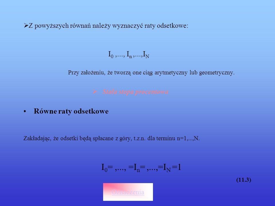 Z powyższych równań należy wyznaczyć raty odsetkowe: I 0,..., I n,...,I N Przy założeniu, że tworzą one ciąg arytmetyczny lub geometryczny. Stała stop