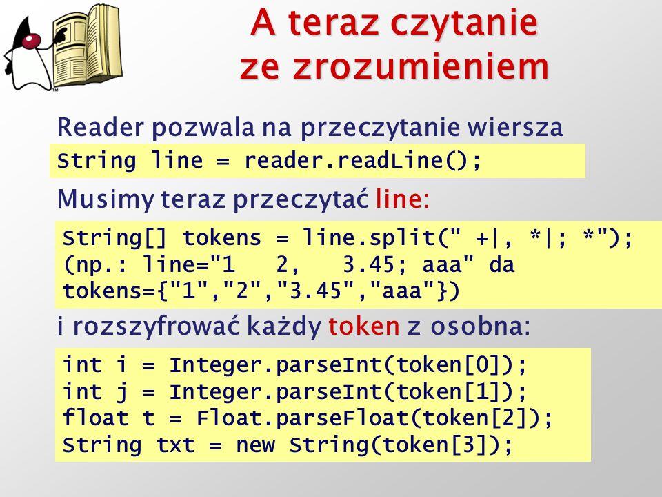 A teraz czytanie ze zrozumieniem Reader pozwala na przeczytanie wiersza String line = reader.readLine(); Musimy teraz przeczytać line: String[] tokens