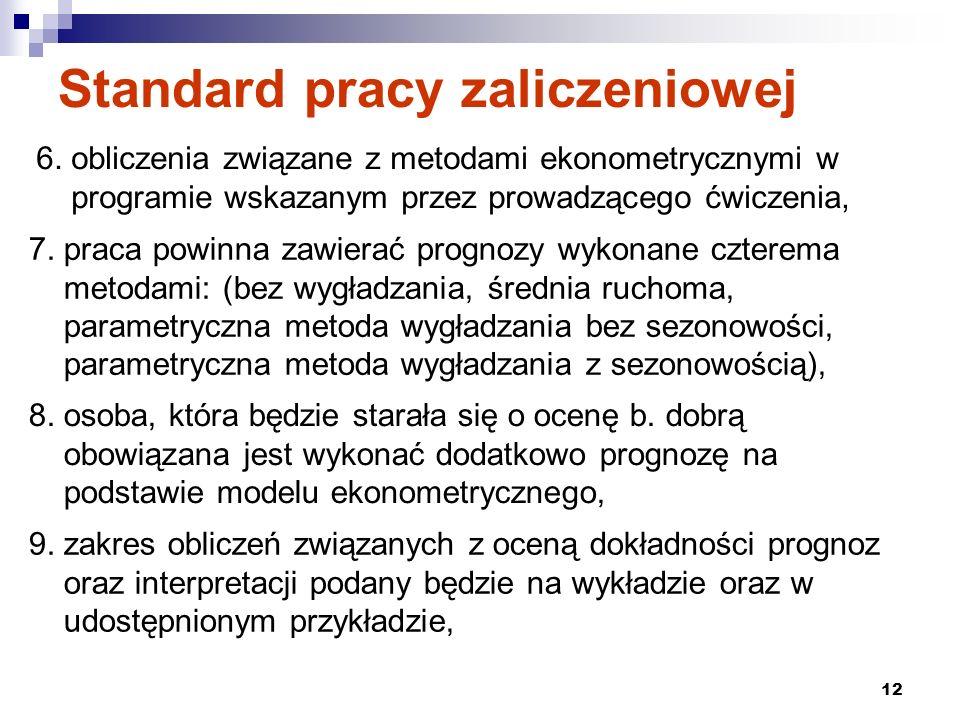 12 Standard pracy zaliczeniowej 6. obliczenia związane z metodami ekonometrycznymi w programie wskazanym przez prowadzącego ćwiczenia, 7. praca powinn