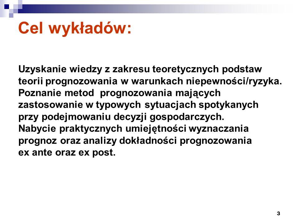 3 Cel wykładów: Uzyskanie wiedzy z zakresu teoretycznych podstaw teorii prognozowania w warunkach niepewności/ryzyka. Poznanie metod prognozowania maj