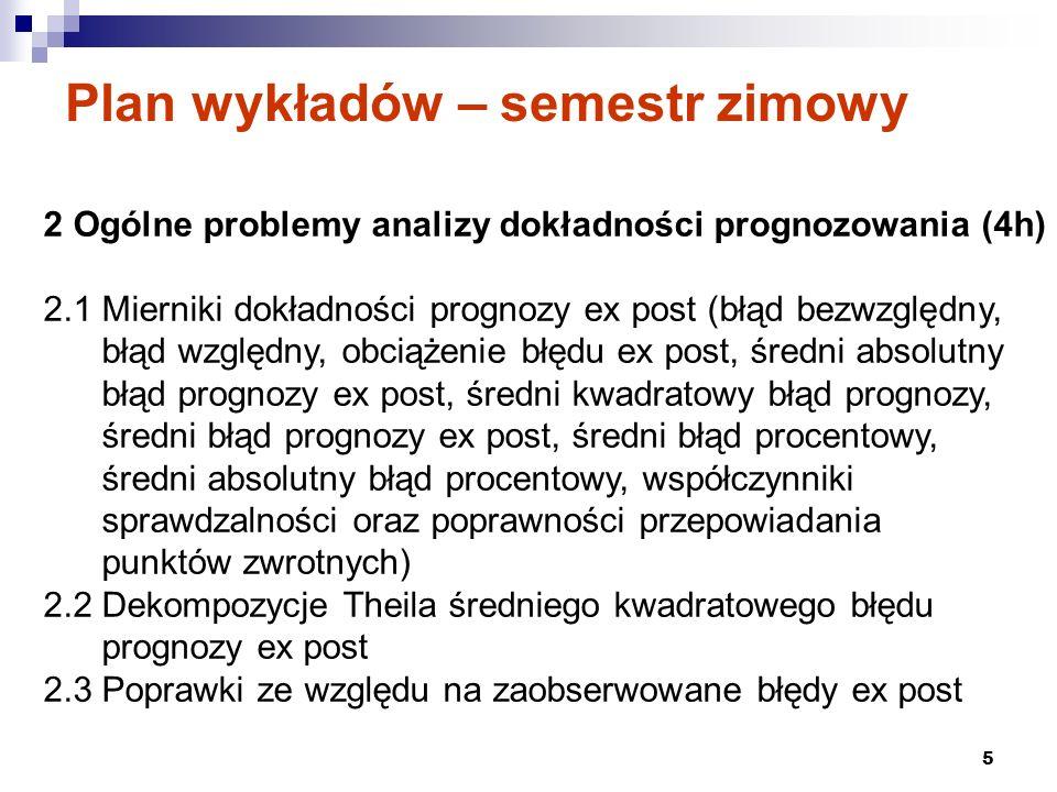 5 Plan wykładów – semestr zimowy 2 Ogólne problemy analizy dokładności prognozowania (4h) 2.1 Mierniki dokładności prognozy ex post (błąd bezwzględny,