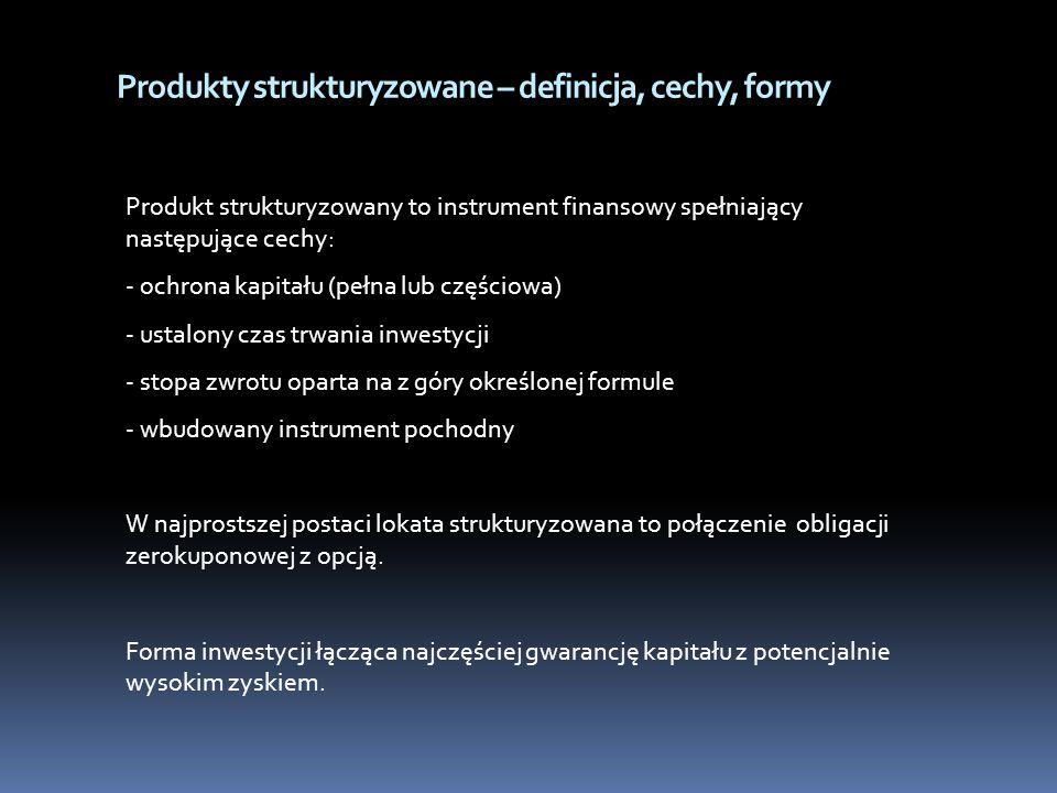 Produkty strukturyzowane – definicja, cechy, formy Produkt strukturyzowany to instrument finansowy spełniający następujące cechy: - ochrona kapitału (