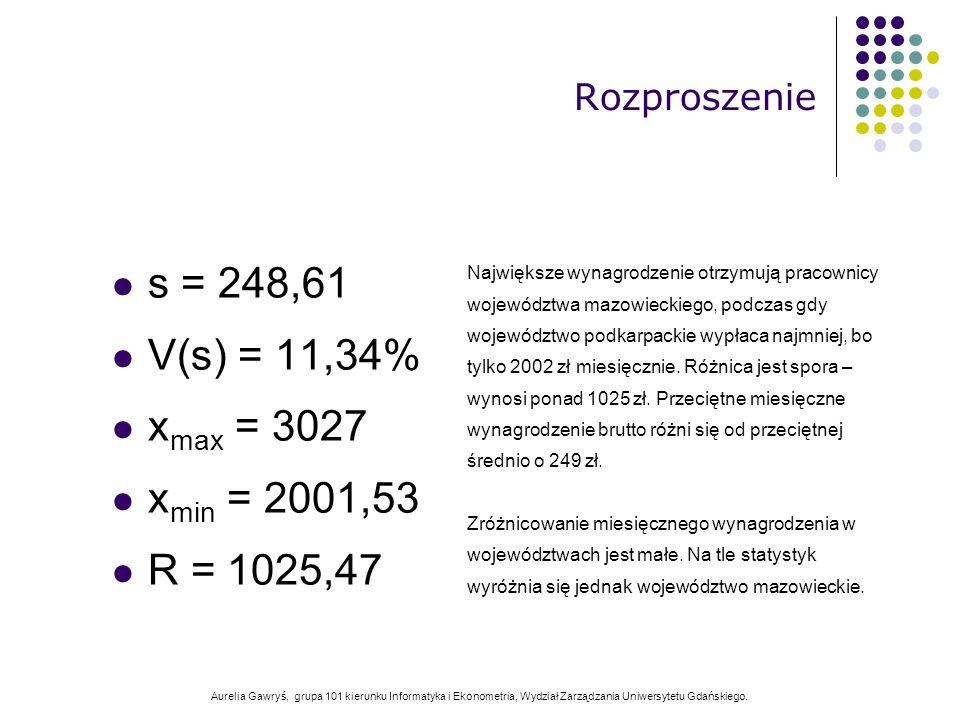 Aurelia Gawryś, grupa 101 kierunku Informatyka i Ekonometria, Wydział Zarządzania Uniwersytetu Gdańskiego. s = 248,61 V(s) = 11,34% x max = 3027 x min