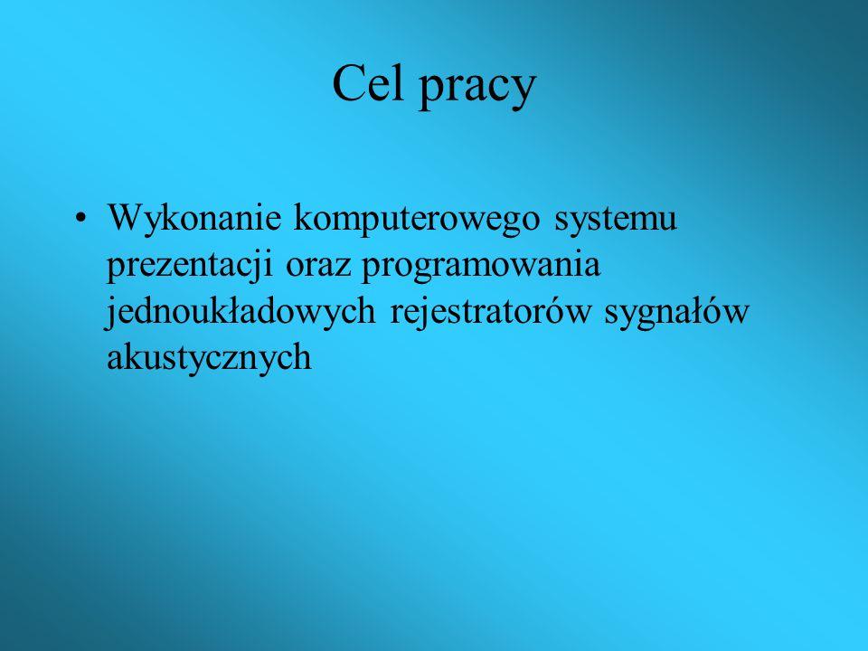 Praca dyplomowa inżynierska Temat: System prezentacji oraz programowania jednoukładowych rejestratorów sygnałów akustycznych. Wyższa Szkoła Informatyk