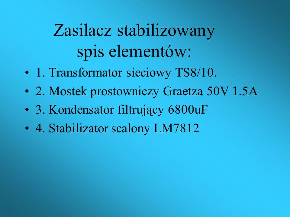 Parametry bloku zasilacza: 1.Napięcie wyjściowe 12V. 2.Prąd wyjściowy 1A. 3.Napięcie sieci 220V