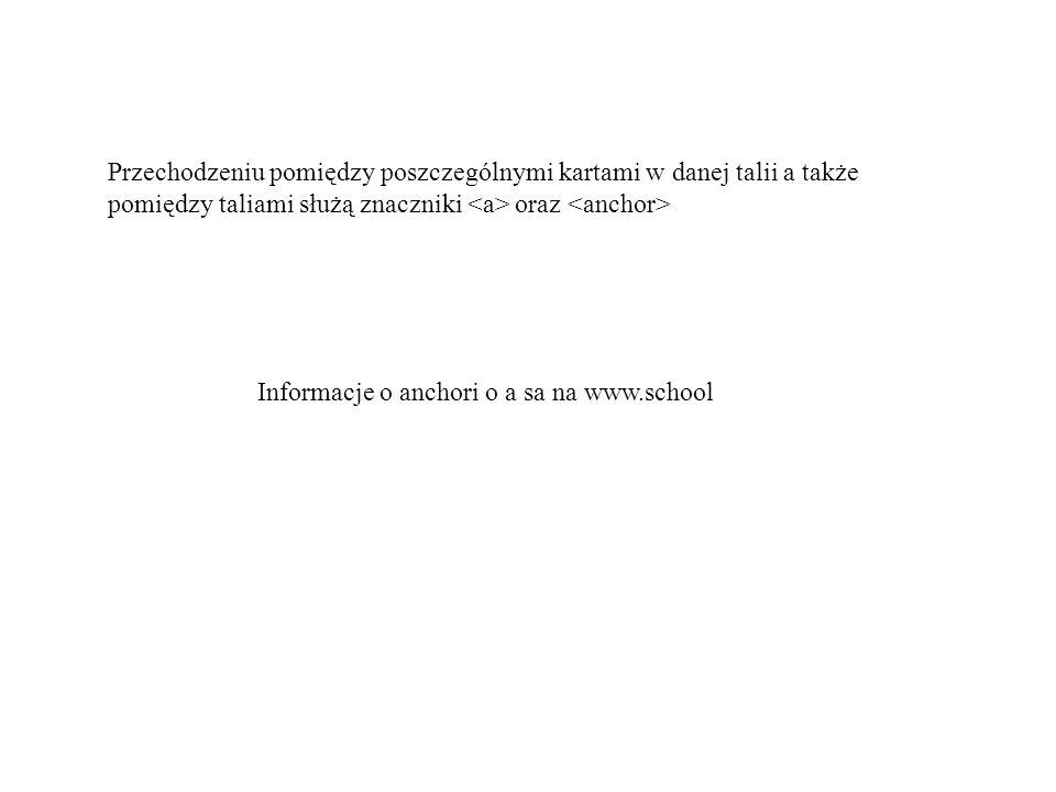 Przechodzeniu pomiędzy poszczególnymi kartami w danej talii a także pomiędzy taliami służą znaczniki oraz Informacje o anchori o a sa na www.school