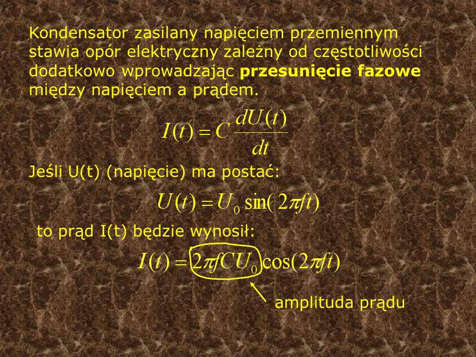 Wprowadzając nową wielkość (impedancję kondensatora) możemy ominąć zabawę z równaniami jakby nie było różniczkowymi, zastępując je równaniami algebraicznymi to jest właśnie IMPEDANCJA Dla kondensatora impedancja równa jest:
