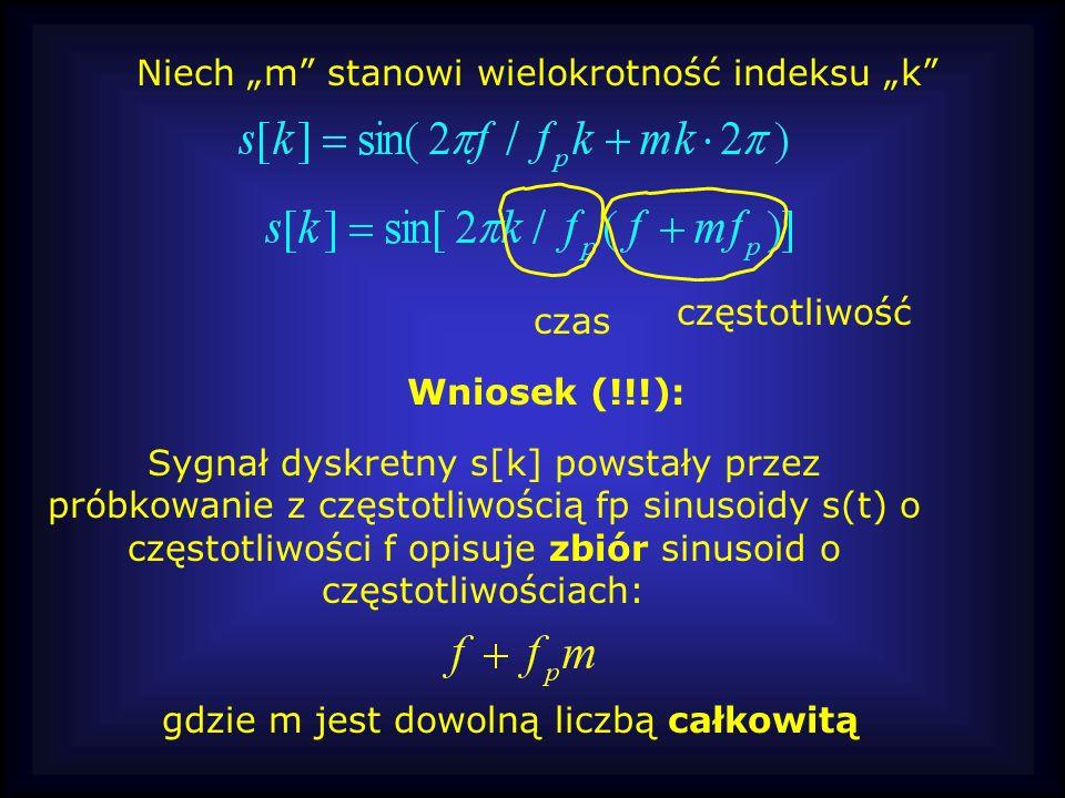 Sygnał dyskretny s[k] powstały przez próbkowanie z częstotliwością fp sinusoidy s(t) o częstotliwości f opisuje zbiór sinusoid o częstotliwościach: cz