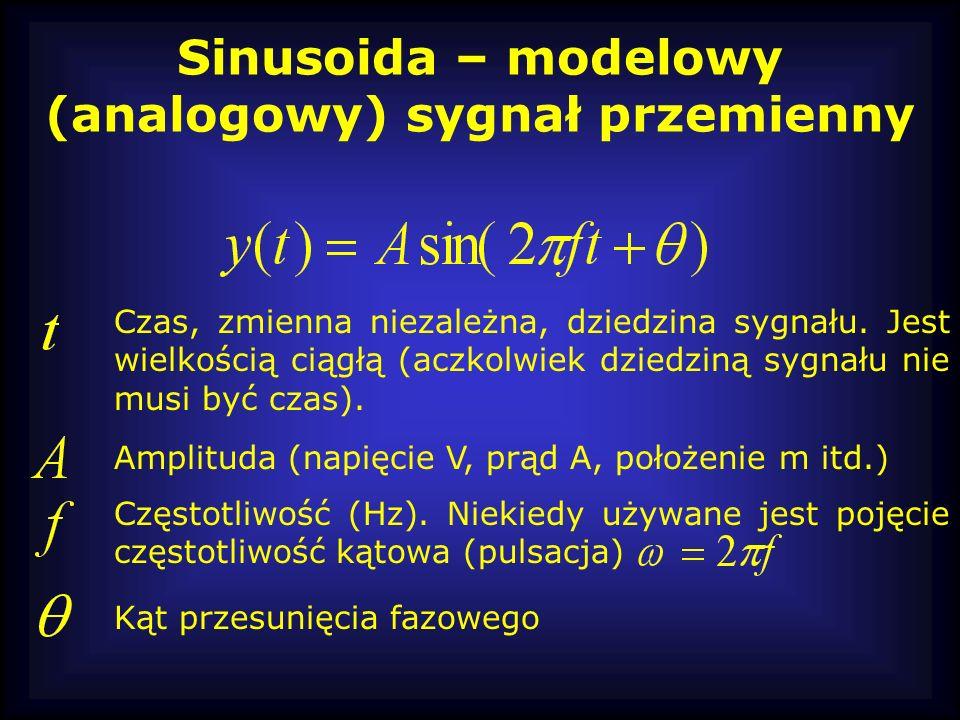 Sinusoida – modelowy (analogowy) sygnał przemienny Czas, zmienna niezależna, dziedzina sygnału. Jest wielkością ciągłą (aczkolwiek dziedziną sygnału n