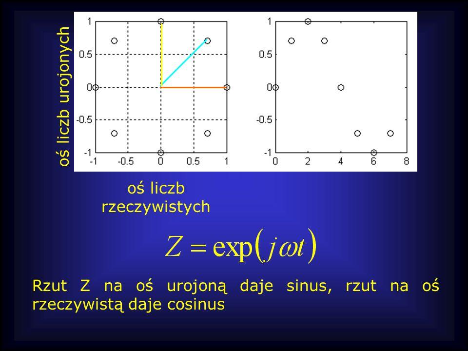 oś liczb rzeczywistych oś liczb urojonych Rzut Z na oś urojoną daje sinus, rzut na oś rzeczywistą daje cosinus