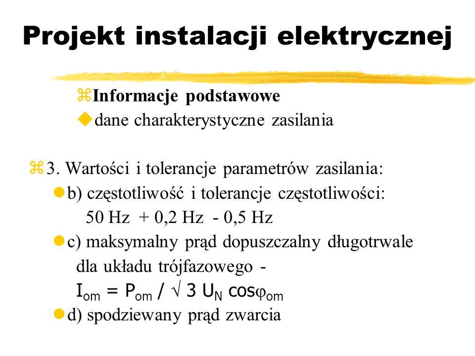 Projekt instalacji elektrycznej Informacje podstawowe dane charakterystyczne zasilania 3. Wartości i tolerancje parametrów zasilania: b) częstotliwość